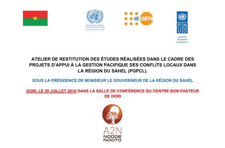 Atelier de restitution globale des études réalisées sur la gestion pacifique des conflits locaux